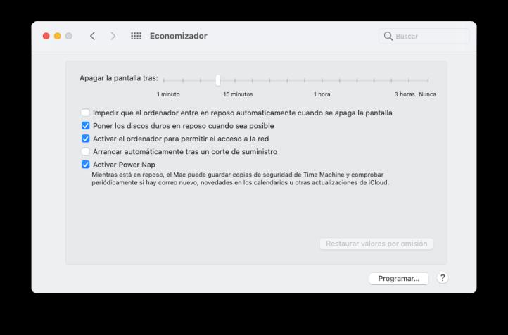 Cambiar tiempo de espera de la pantalla en Mac