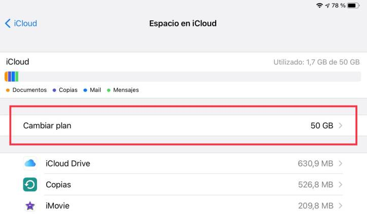 Cambiar el plan de almacenamiento de iCloud