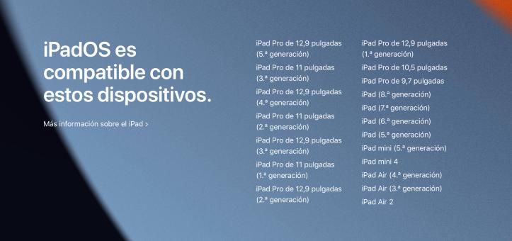 Lista de dispositivos compatibles con iPadOS 15