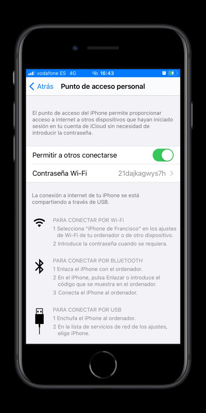 Activar punto de acceso personal en el iPhone