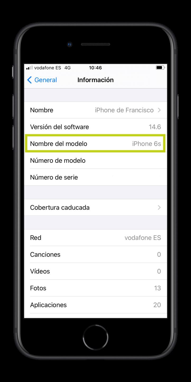 Comprobar modelo de iPhone o iPad