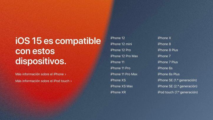Lista de dispositivos compatibles con iOS 15