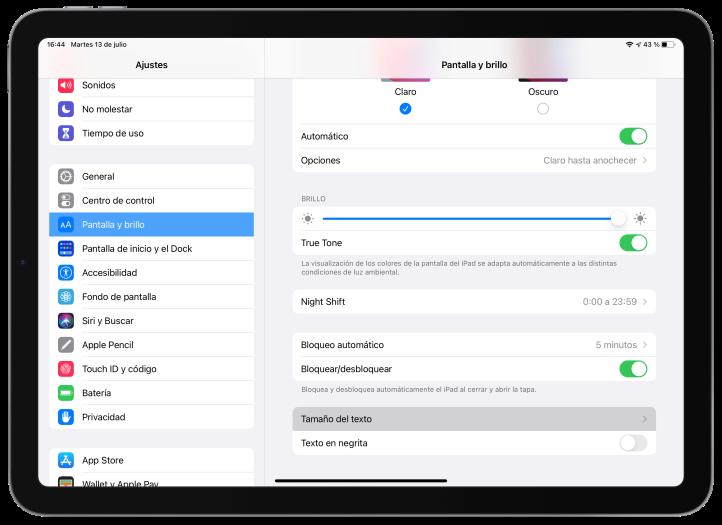 Cambiar el tamaño de la letra en iOS o iPadOS